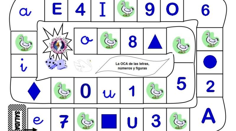 juego oca, educación infantil, números, vocales, figuras geometricas