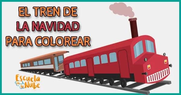 Tren de Navidad para colorear