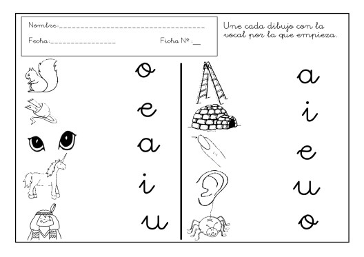 vocales, letras, lengua, fichas lengua