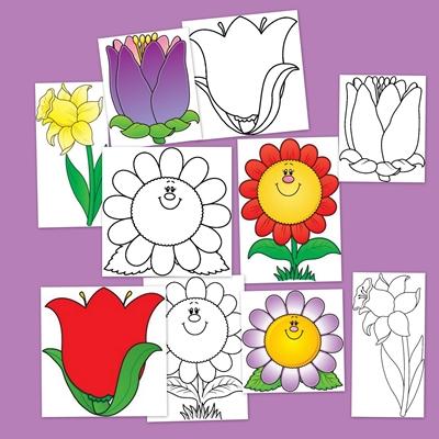 La primavera con flores para colorear escuela en la nube - Como decorar un dibujo de una castana ...