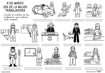 Dibujos para colorear del Día de la mujer trabajadora