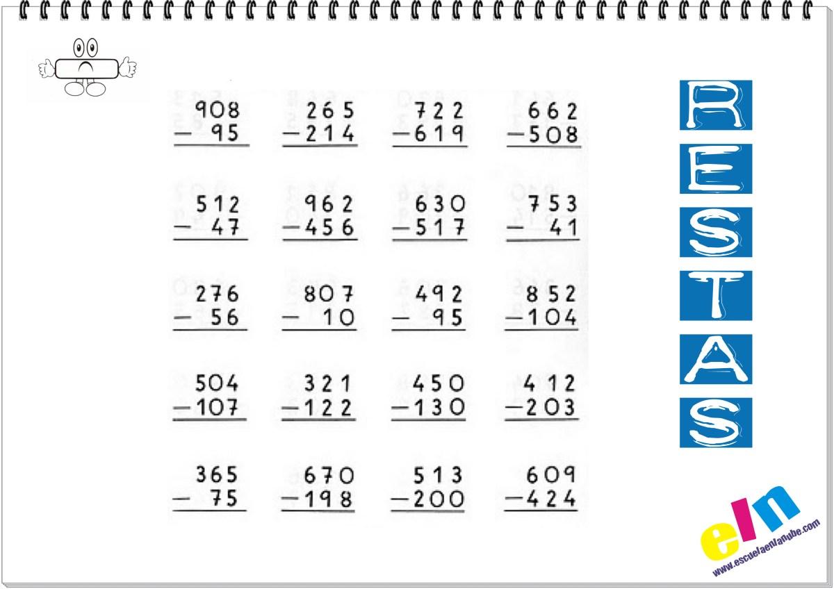 Fichas de matematicas: Restas