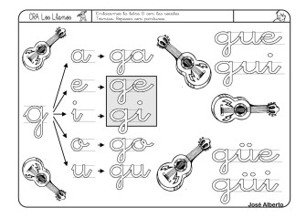 lectoescritura con la letra G
