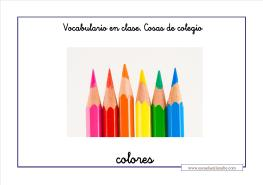Vocabulario colegio colores