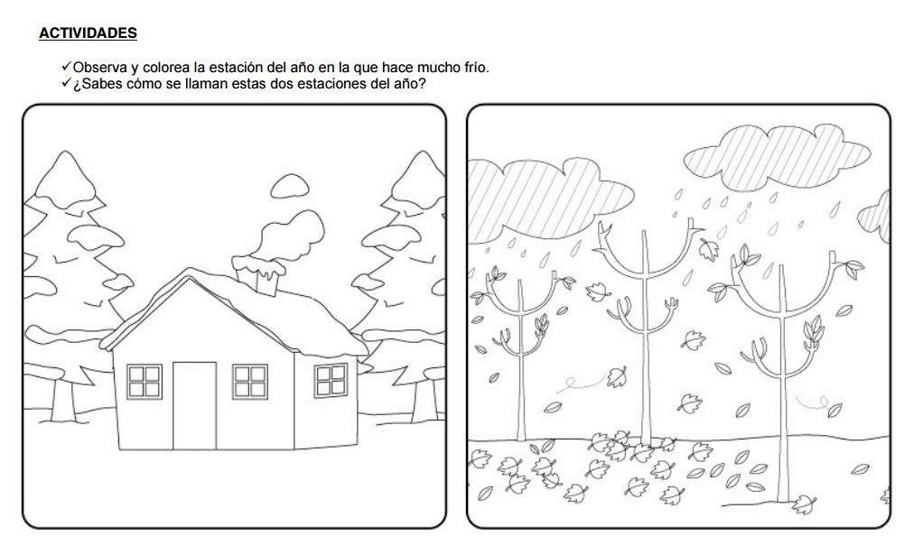 Dibujos De Las 4 Estaciones Para Colorear: Fichas Para Aprender Las Estaciones Del Año