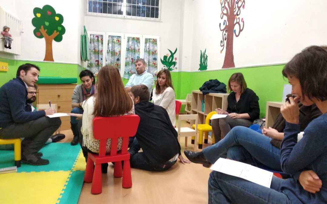 Papás y mamás trabajando en Family on Training en E.I. Nanos