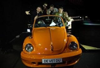 De Vet Du in their yellow VW Beetle car prop ahead of Melodifestivalen semifinal 1 in Göteborg