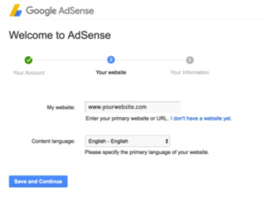 Adding Website URL in Google Adsense creation