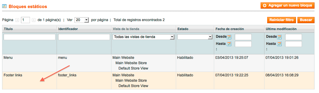 magento - footer links
