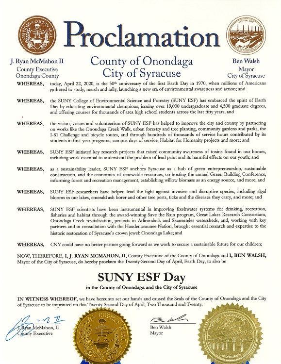 Proclamation by the city of Syracuse declaring April 22 'SUNY ESF Day.'