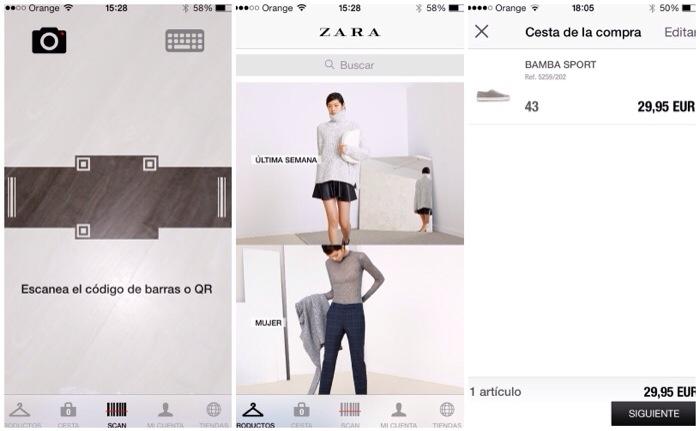 Capturas de pantalla Zara
