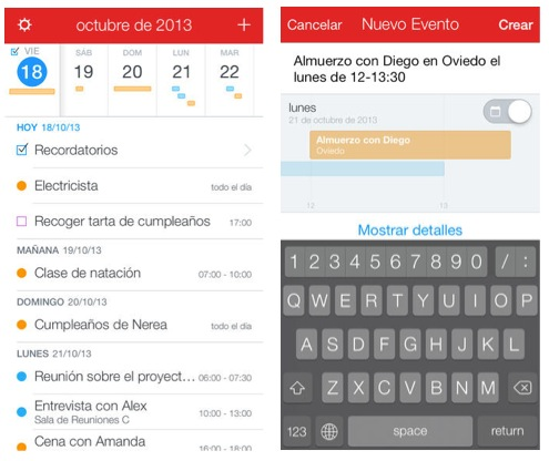 Fantastical 2 interfaz 1
