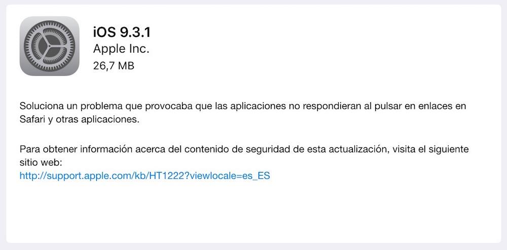 iOS 9.3.1 - fallo enlaces en Safari