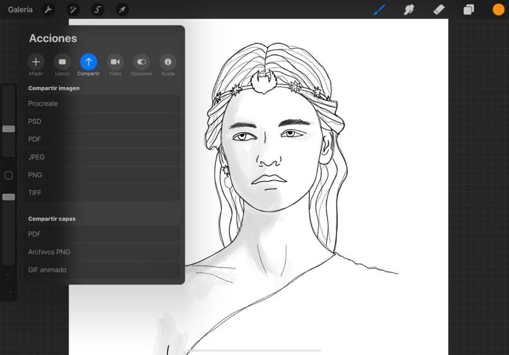 Captura de pantalla de la aplicación Procreate en iPad. Opciones de compartir capas de forma individual en PDF, PNG o GIF.