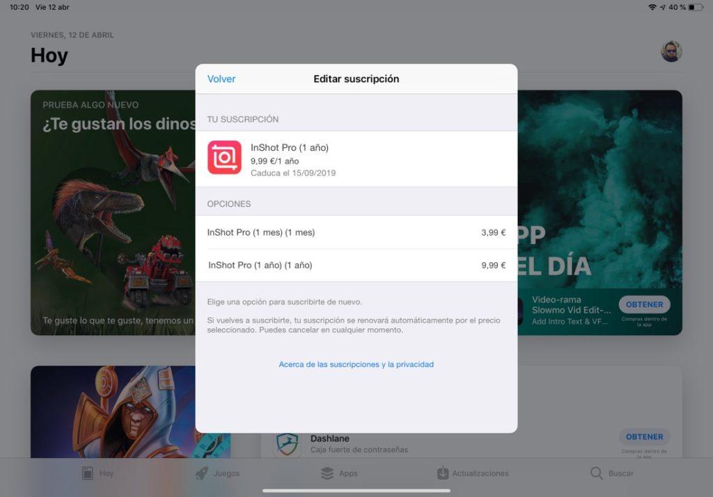 Captura de pantalla de la App Store donde se muestra la ventana de suscripciones de pago de nuestras apps