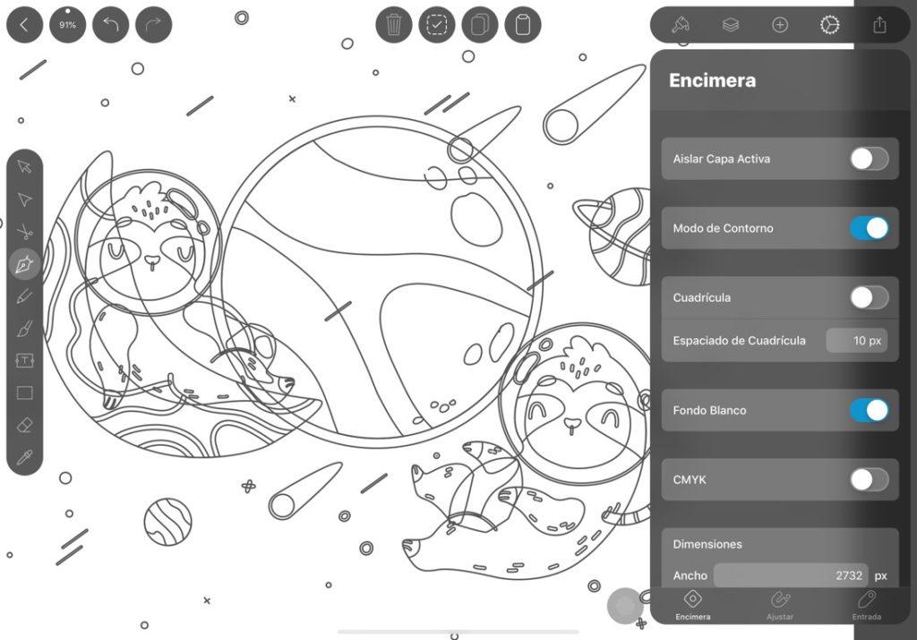 Captura de pantalla de la aplicación Vectornator en iPad. Se muestra una ilustración en modo contorno, además de la interfaz de la app.