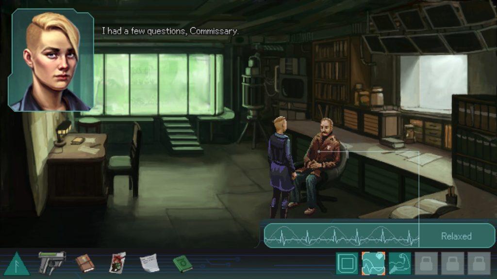 """Escena del juego """"Whispers of a Machine"""", donde la protagonista está hablando con un hombre. Ella de pie, él sentado. En la parte inferior se ve el inventario del juego, a la derecha un encefalograma del estado del hombre (relajado) y en la parte superior izquierda un primer plano de la protagonista mientras habla. Al fondo de la sala hay una cristalera verde que no deja ver que hay detrás."""