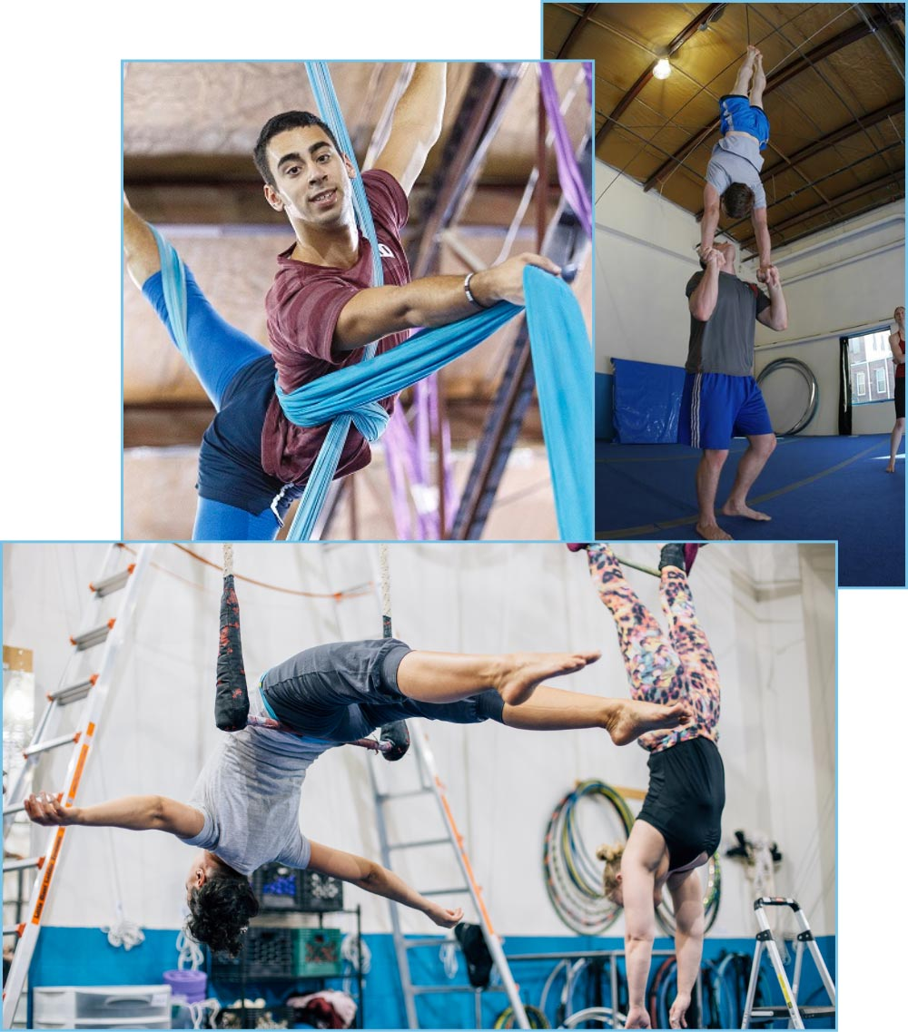 students training at esh circus arts