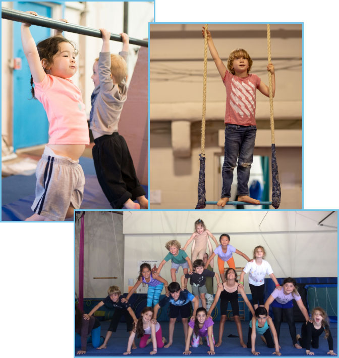children training on trapeze and playing