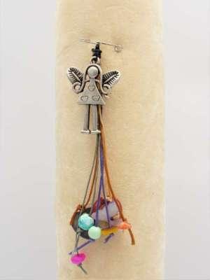 Χειροποίητη Καρφίτσα κρεμαστή με ασημί νεραιδούλα , κορδόνια και χάντρες. Περίπου 10-12εκ.