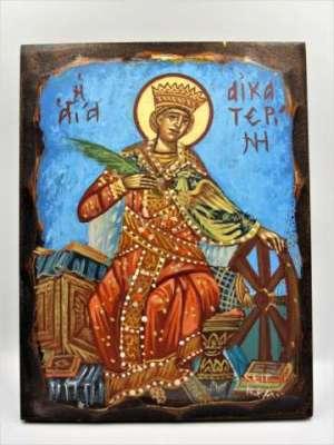 Χειροποίητη Αγιογραφία Αγία Αικατερίνη ζωγραφισμένη στο χέρι, βυζαντινή. Διαστάσεις 0,25εκ Χ 0,18εκ