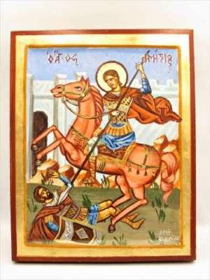 Χειροποίητη Αγιογραφία Άγιος Δημήτρης ζωγραφισμένη και σκαμμένη στο χέρι, βυζαντινή. Διαστάσεις 0,24εκ Χ 0,20εκ