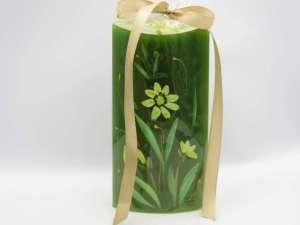Χειροποίητο αρωματικό κερί οβάλ πράσινο ζωγραφική λουλούδι . Διαστάσεις 0,14εκ Χ 0,8εκ.