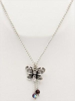 Χειροποίητο Κολιέ μακρύ με ασημί αλυσίδα και πεταλούδα με μωβ κρυσταλλάκια.
