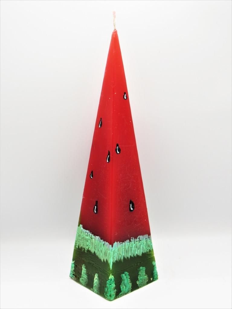 Πυραμίδα αρωματικό κερί καρπούζι ζωγραφική. Διαστάσεις 19εκ χ 5εκ.
