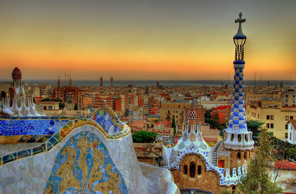 View of Barcelona from the terrace of the Park Güell, by the architect Antoni Gaudí. Photo: flickr/MorBCN