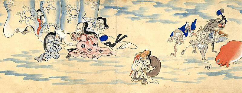 Rollo ilustrado del desfile nocturno de los cien demonios (detalle) / Periodo Edo, siglo XIX / Miyoshi City
