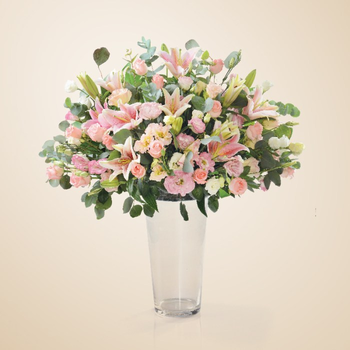 Grand arrangement of Starbright Lilies, Roses and Eusthomas | Flowers In Vase | Eska Creative Gifting.