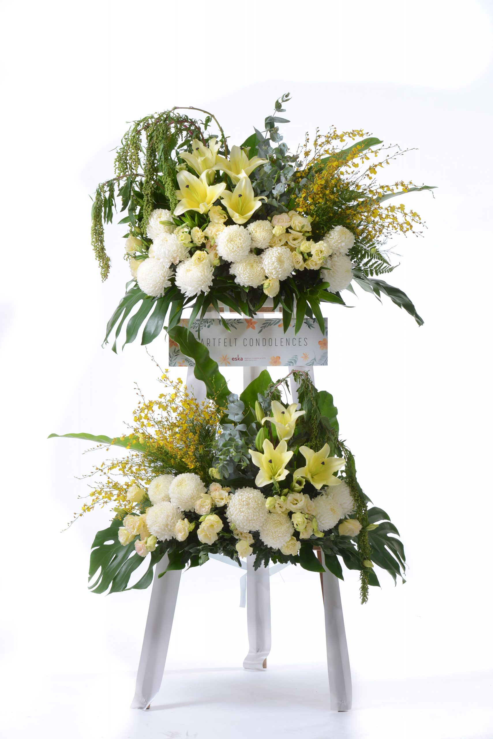 White Moments Funeral Flower Stand | Condolence Flower | Eska Creative Gifting