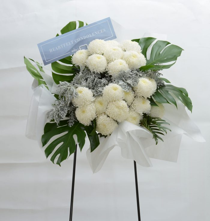 White Repose funeral condolences flower stand | Condolence Flowers | Eska Creative Gifting