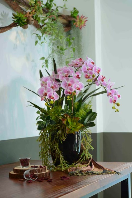 Orchids and Foilages potted in a ceramic vase | Flowers In Vase | Eska Creative Gifting
