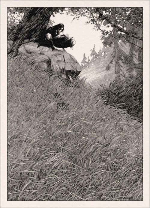 Frankensteins-monster-reads, in an illustration by Berni Wrightson.