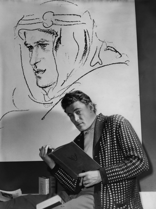 Irish actor Peter O'Toole studying for his role in Lawrence of Arabia. (Photo by Dennis Oulds/Getty Images)