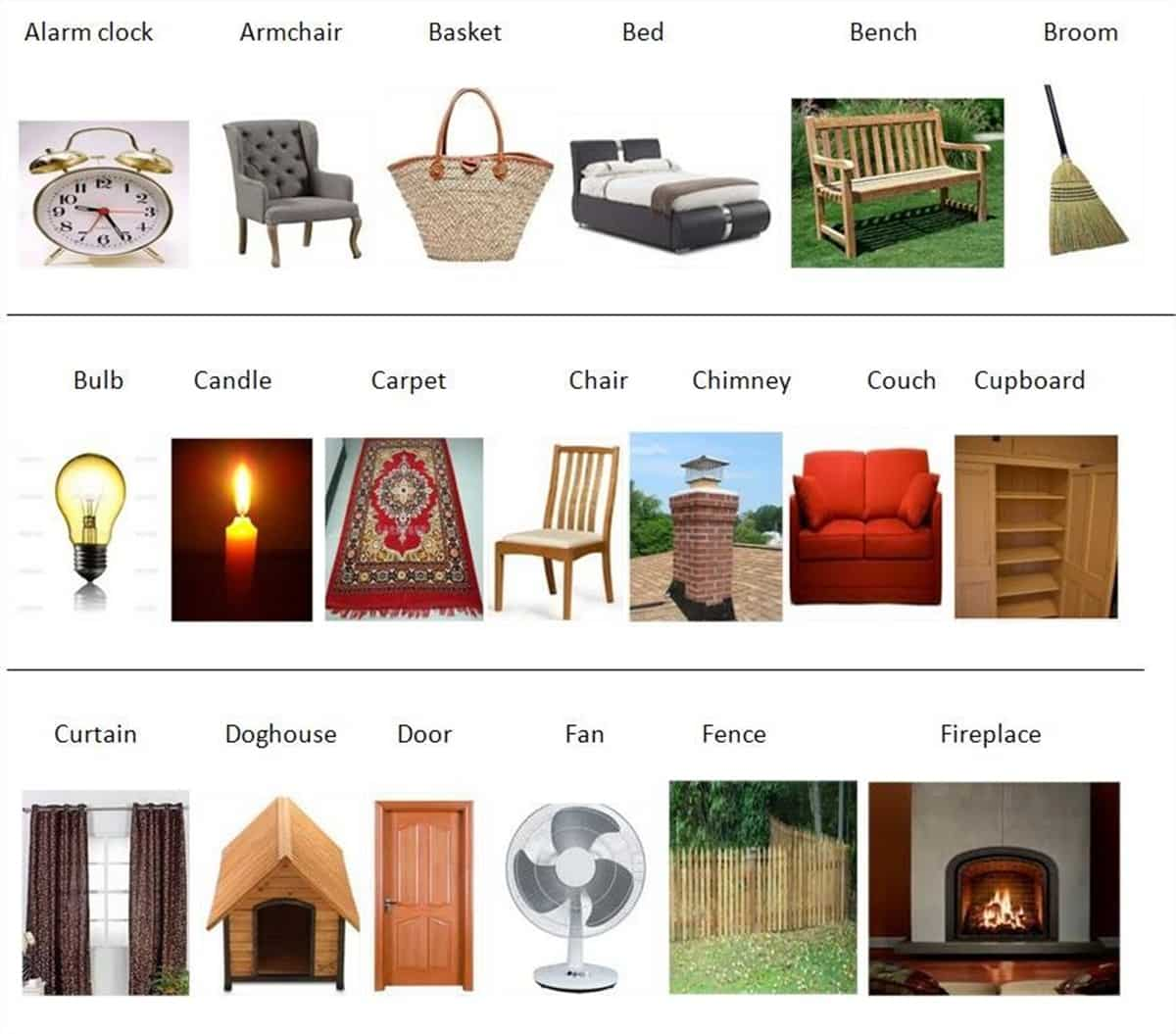 Furniture Vocabulary 250 Items Illustrated Esl Buzz