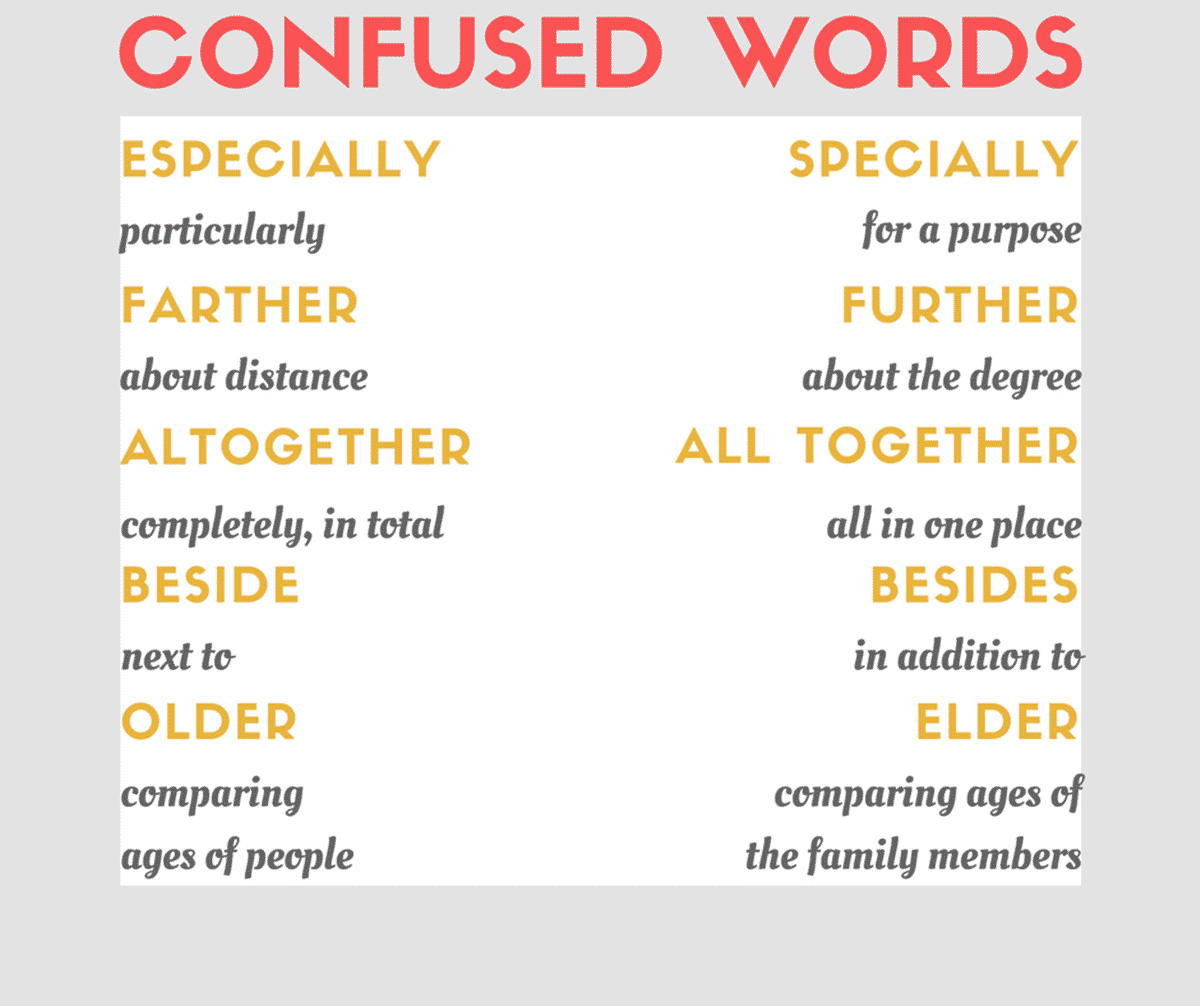 Commonly Confused Words 50 Commonly Misused Words In