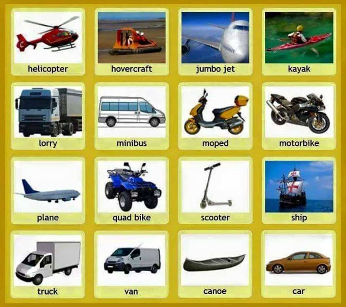 Common Vehicles and Modes of Transportation Vocabulary 15