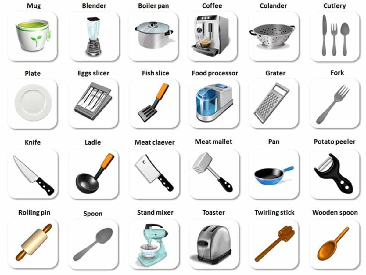 in the kitchen vocabulary kitchen utensils cooking