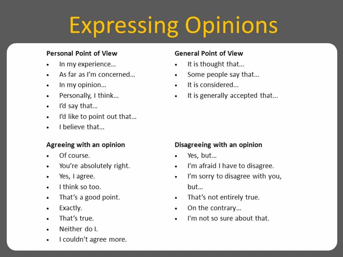 Expressing Opinions In English Agreeing And Disagreeing