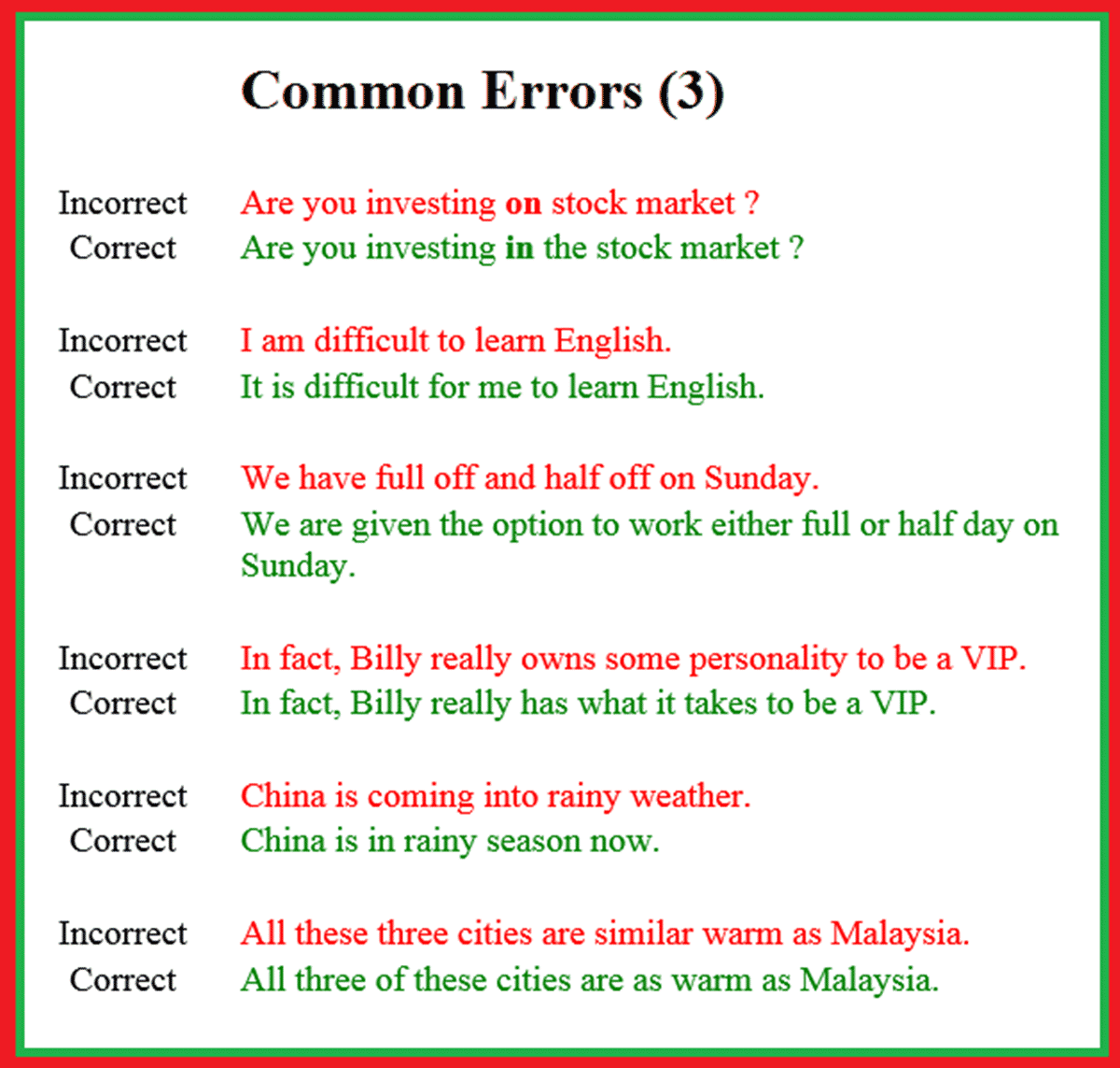 Typical mistakes in english