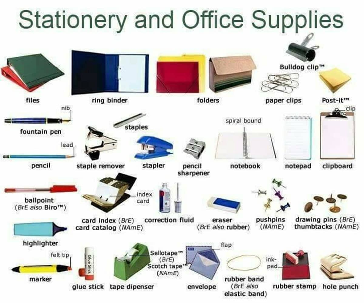 Stationery And Office Supplies Vocabulary In English