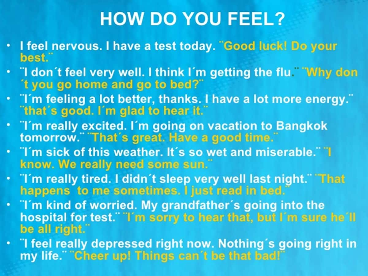 Useful Words and Phrases to Describe How You Feel in English 17