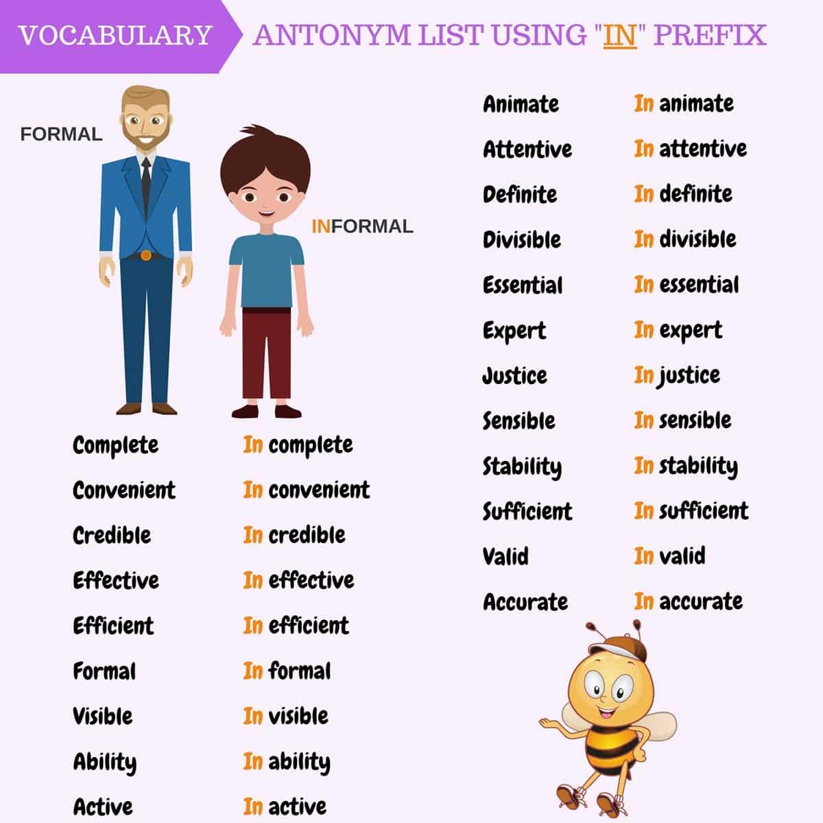 Antonym list using \