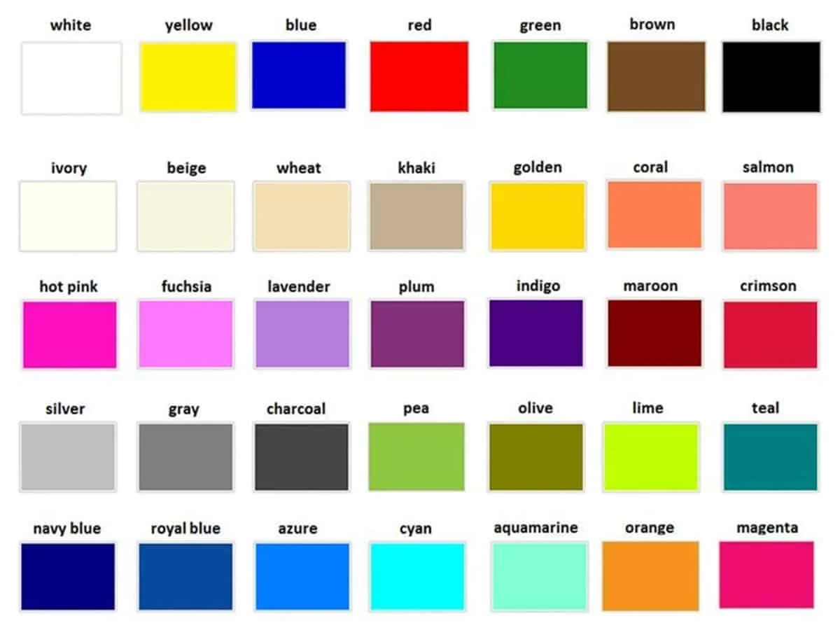 Learn English Vocabulary: Colours/ Colors 14