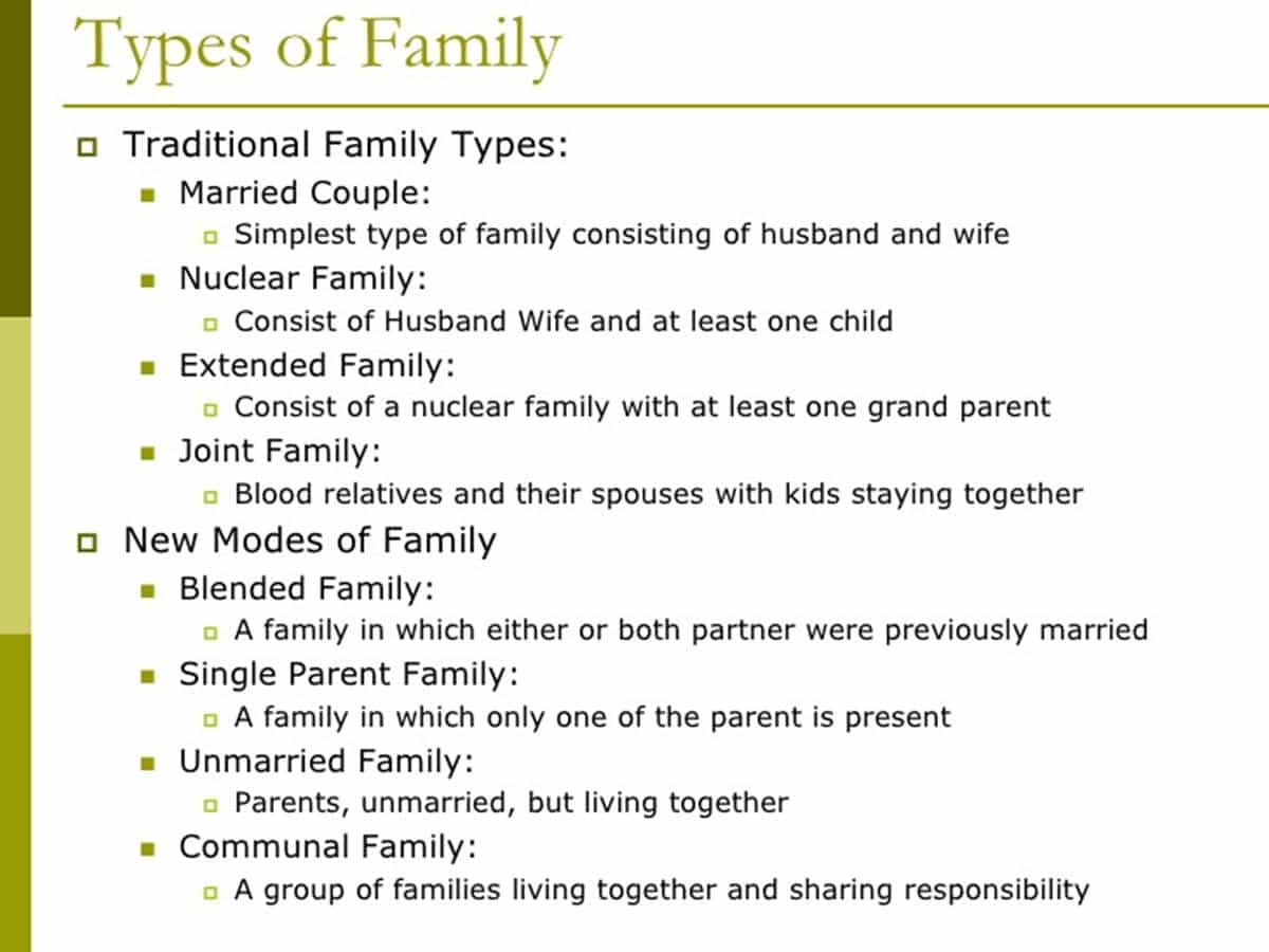 English Vocabulary Family Members And Different Types Of