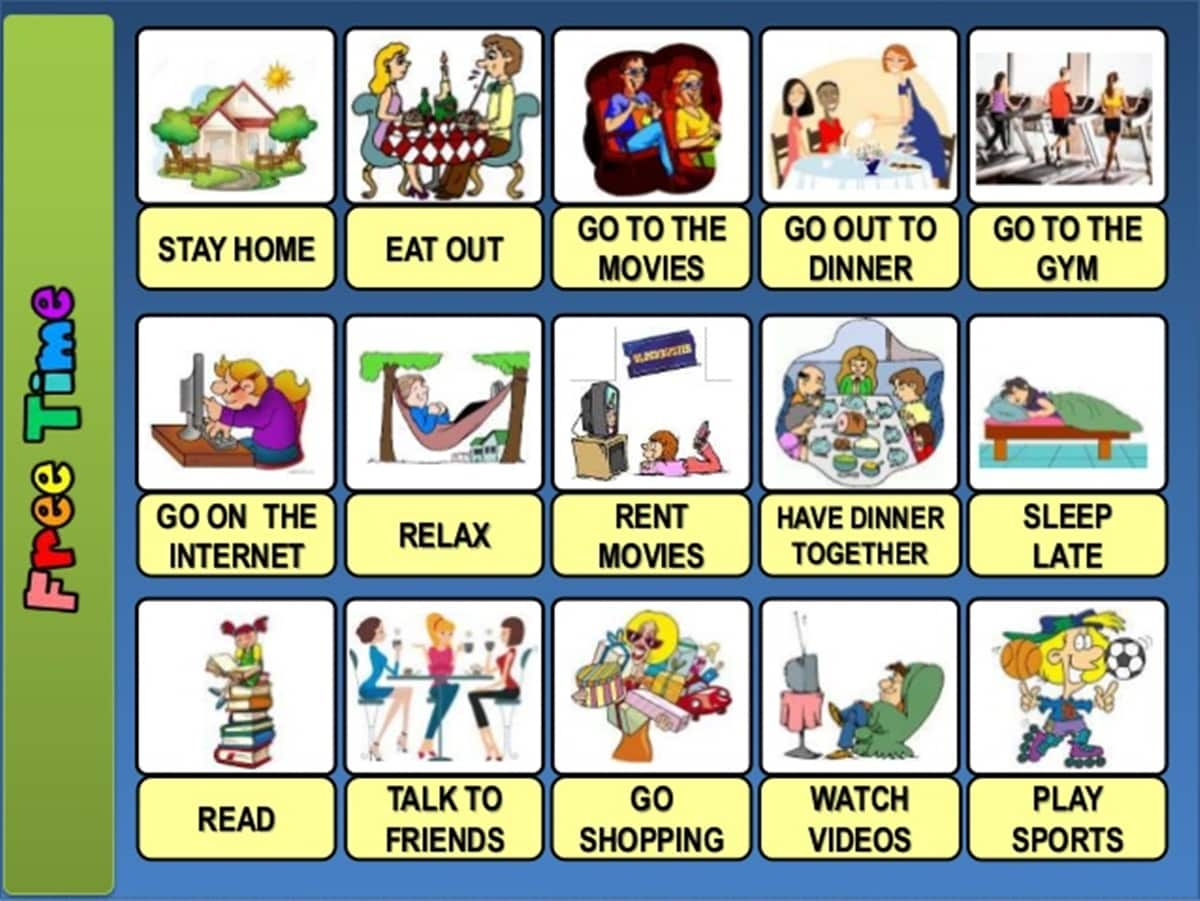 Free Time And Leisure Activities Vocabulary In English