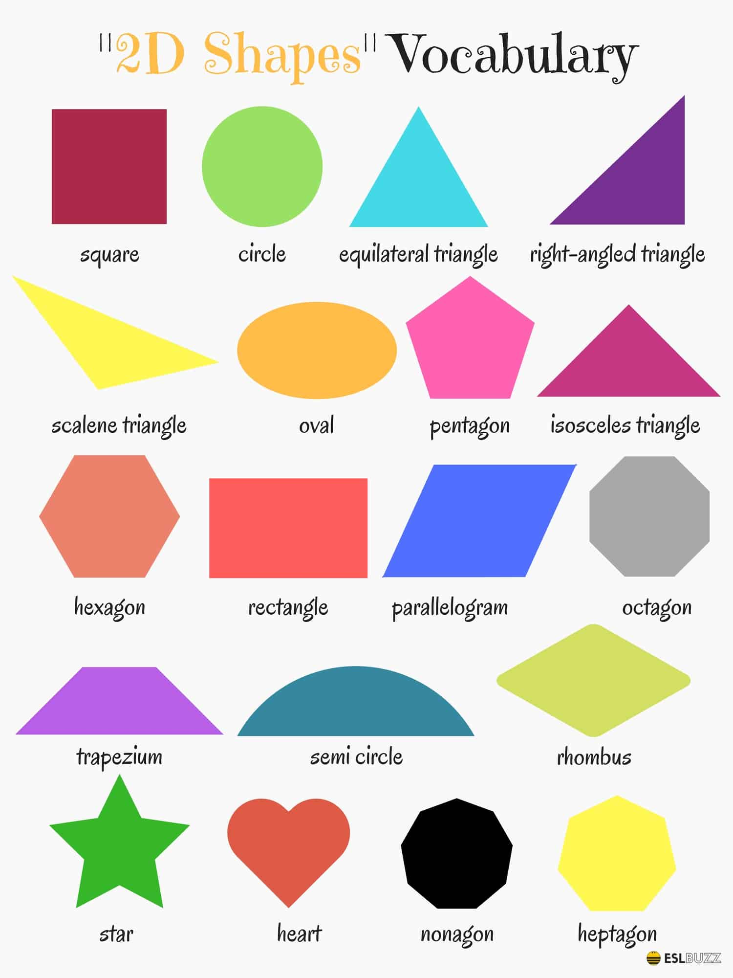 2d Shapes Vocabulary In English